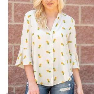  LUSH Pineapple Print Blouse 